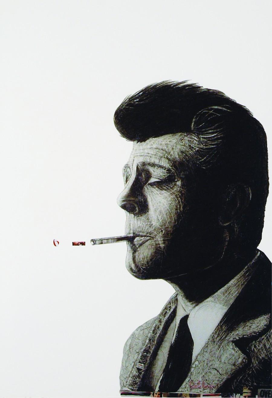 Marcello, lo stranieroTecnica mista su cartoncino70x50 cm2005