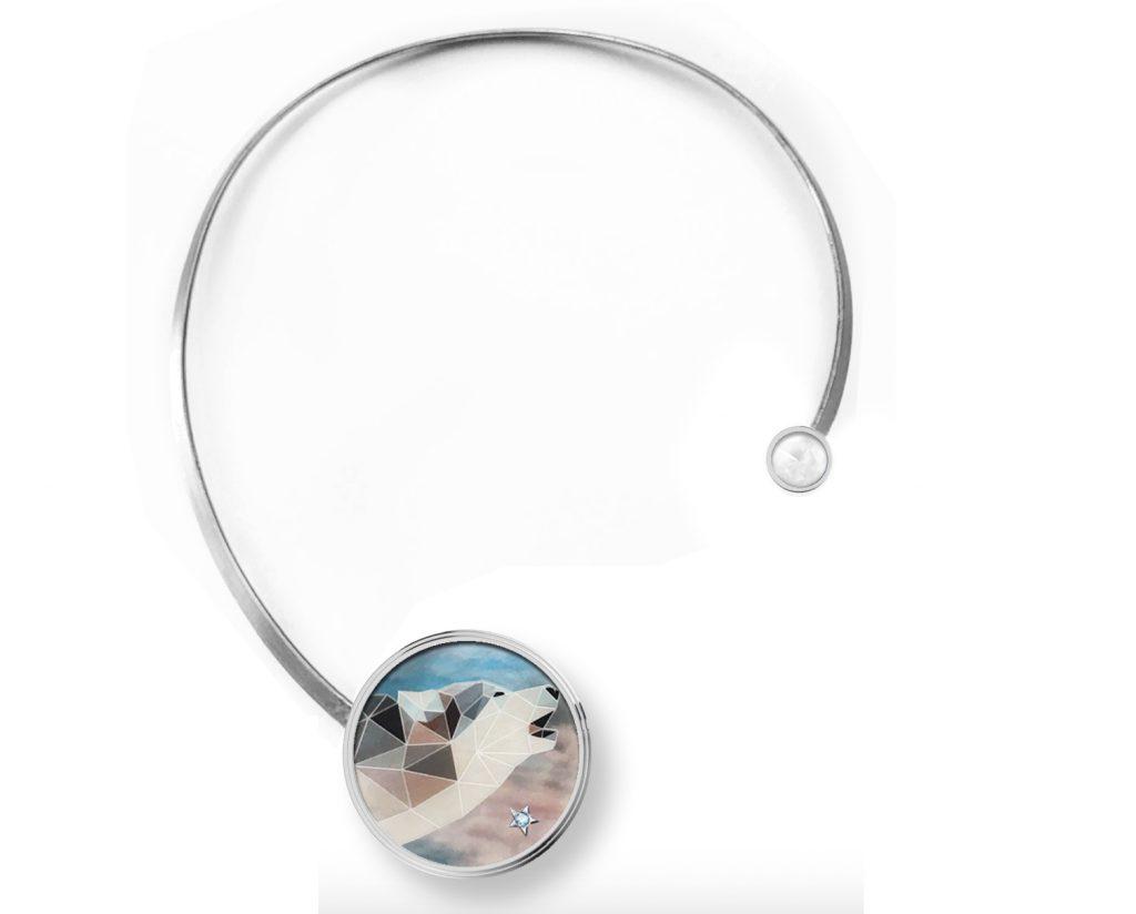 Anna Maccieri Rossi, collana, oro bianco, argento brunito, madreperla, pietra di luna, 2018