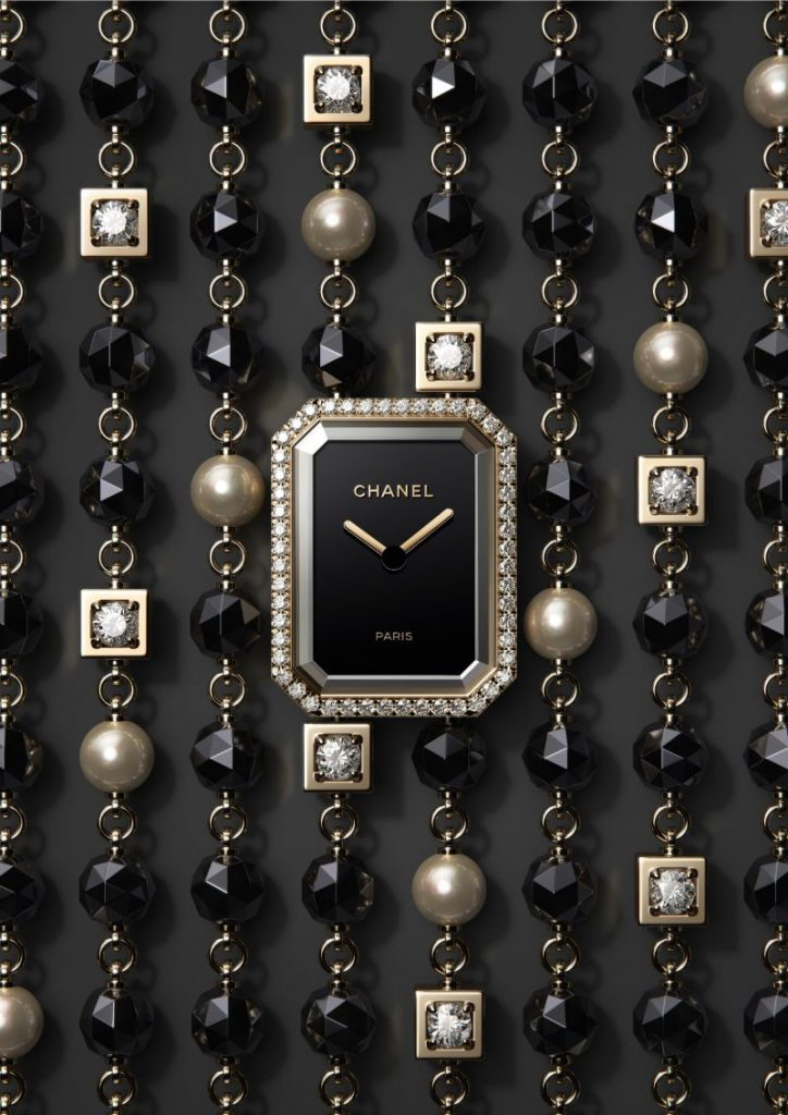 chanel premiere velours timepiece diamonds black&white luxury watch