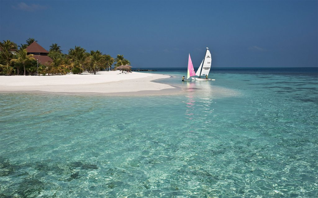 the island is ideal for water sports