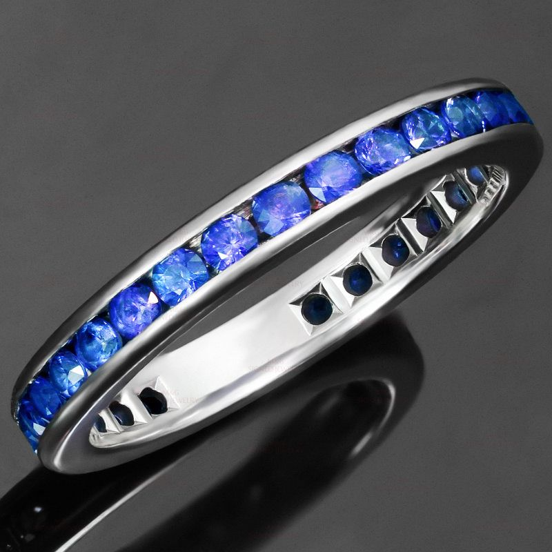 TIFFANY CO. Blue Sapphire Platinum Band Ring