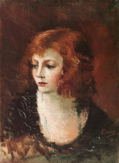 """André Derain (1880-1954). """"Portrait de femme"""". Huile sur toile, vers 1928. Paris, musée d'Art moderne."""