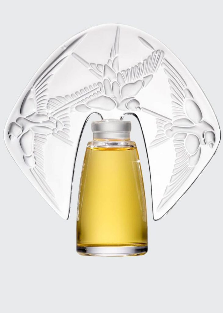 Amorem Rose Parfum presented in a Lalique Crystal Flacon